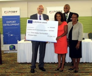 From left: Ambassador, Mikael Barfod, Head of Delegation, Barbados and Eastern Caribbean for the European Union; Pamela Coke-Hamilton, Executive Director, Caribbean Export; Ambassador Colin Murdoch, Chairperson, Caribbean Export; Sen. Maxine McClean, Minister of Foreign Affairs and Foreign Trade, Barbados