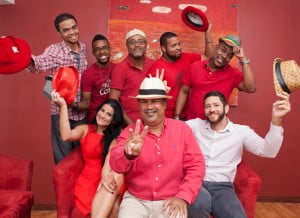 Painting the town Red: (From left to right standing) Matthew Clarke, Sergio Charles, Samud Ali, Jabari Batson and Maurice Foster. Sitting is Tracey Garcia, Jevan Jutagir and Robert MacGeoch.
