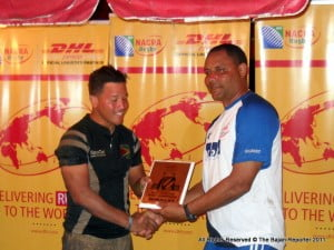 """(PERSONAL FILE IMAGE) BRFU President George Nicholson (RIGHT) said that the Union is currently developing a promotional package that would allow local organizations and sponsors to leverage the exposure from the team's sustained presence on the UK rugby scene throughout June and July. """"Sports Tourism is a viable and lucrative market that Barbadian companies can tap into at very low cost. We would be happy to be the poster boys for Brand Barbados in the UK this summer, leading into the Commonwealth Games,"""" said Nicholson."""