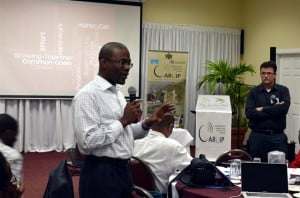 Bevil Wooding, Internet Strategist (left) and Dr Farid Youssef, neuroscience expert based at The University of the West Indies (UWI), St Augustine, facilitate an open session at the Caribbean Communications Infrastructure Programme innovation workshop, Bay Gardens Resort, Gros Islet, Saint Lucia on February 4th. PHOTO: GERARD BEST