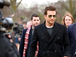 In a place among the pines, recovering from a hangover? No, this is Bradley Cooper at the Burberry Prorsum Womenswear Autumn/Winter 2014 Show