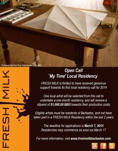 One Barbadian artist will be selected from this call to undertake a one-month residency, and will receive a stipend of $1,000.00 BBD towards their production costs.