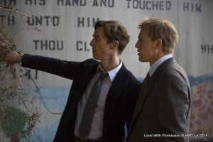 Matthew McConaughey and Woody Harrelson star in True Detective as Louisiana detectives Rust Cohle and Martin Hart, whose lives collide and entwine during a 17-year hunt for a killer, ranging from the original investigation of a bizarre murder in 1995 to the reopening of the case in 2012. Michelle Monaghan plays Hart's wife, Maggie, who struggles to keep her family together as the men in her life become locked in a cycle of violence and obsession.
