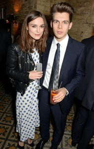 People when they see couples often ponder if they're in 'Love, Actually'?? One of the stars from the 2003 smash, Keira Knightley with James Righton wearing Burberry at the Harvey Weinstein BAFTA Dinner in partnership with Burbery in London 14 February 2014