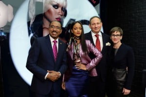 (L-R) Michel Sidibe Executive Director UNAIDS, Singer Rihanna, John Demsey, Chairman, M-A-C AIDS Fund and Nancy Mahon, Global Executive Director, MAC AIDS Fund, attend the MAC Cosmetics Launch of Viva Glam Rihanna at MAC Store Soho on January 29, 2014 in New York City.