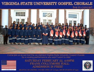 {CLICK FOR BIGGER} The U.S. Embassy's Black History Month activities will culminate in a free public concert featuring the internationally acclaimed Virginia State University (VSU) Gospel Chorale on Saturday, February 22 at 4 pm at the Frank Collymore Hall.