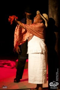 Clever use of a red scarf as allegory for pig entrails, this play is not for the squeamish - there is strong language and some sexual violence {PHOTOS COURTESY: Alwyn Kirk Studios}