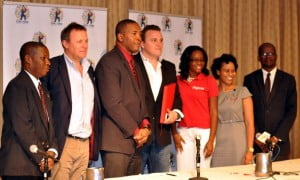 (left to right) Senior Sports Officer Vernon Springer, CPL Chief Operating Officer Pete Russell, Minister of Sports Honourable Glenn Phillip, Chief Operating Officer Damien O'Donohue, two members of Digicel staff, Minister of Legal Affairs Honourable Patrice Nisbett