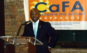 Minister of Culture, Sports and Youth, Stephen Lashley, gave the feature address Wednesday 12 March, at 6:00 p.m. at the opening of the Caribbean Fine Arts Fair at the Old Spirit Bond Mall, Wharf Road, St. Michael