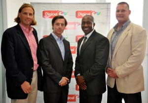 Mark Jules, CEO Avrio Group, Victor Corcoran, CEO Digicel Antigua and Barbuda, Clement Samuel, Business Solutions Manager, Digicel, Stuart Bostock, Director of Business Development, Security Centres International (SCI)