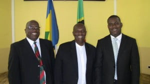 SKN's Dr Timothy Harris; SVG's Arnhim Eustace & SKN's Shawn K Richards