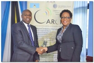 Jesse Edwards, country manager, Columbus Communications Saint Lucia and Geraldine Pitt, CEO, LIME Southern Cluster, at the launch of the St Lucia Internet Exchange Point, SLiX, February 28, 2014.