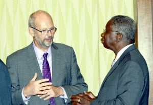 At left Head of the European Union Delegation to Barbados and the Eastern Caribbean, Mikael Barfod chats with RSS Chairman, Prime Minister of Barbados, Freundel Stuart.