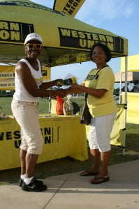 Liz from the Montego Bay High School Alumnae Association, the winner of the Grace Kennedy Remittance Services/ Western Union All Girls Schools Alumnae Penalty Kick-off.