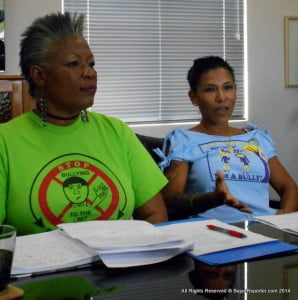 From Left;- Mary Brewster who urges all of Corporate Barbados to get behind the Anti-Bully drive or the Sprigio system which enables secure web transmissions on disclosing Bullies. In the blue tee-shirt is Maria Holder's grand-daughter, Colleen Neuhoff, herself a victim of Bullying which is why she throws her full support into this key initiative.