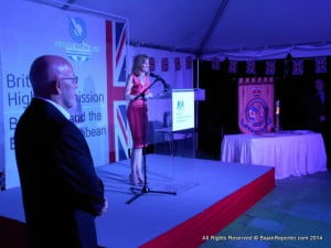 British High Commissioner, Mrs Victoria Dean (at podium), held a reception for the Queen's Baton Relay, which is in Barbados ahead of this summer's 20th Commonwealth Games in Glasgow, Scotland