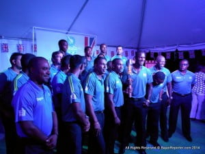 West Indies T20 cricket team, with Capt Darren Sammy holding the Baton