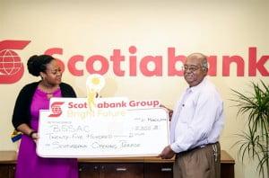 Scotiabank BSSAC sponsorship- marketing manager Amanda Lynch-Foster with BSSAC chairman Vasco Dash
