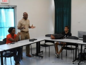 Signia's Paul Ashby stresses on how these young Barbadians becoming entrepreneurs through this avenue is the next wave to bring Barbados up front as a financial leader in the world - the workshop was hosted at the George Lamming Pedagogical Centre on Cave Hill
