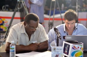 Trinidad and Tobago Red Steel Team Mentor, Gordon Greenidge and Head Coach, Simon Helmot review their options during the CPL 2014 draft