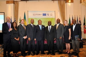 Pictured From left: 1. Mikael Barfod, Head of European Union to Barbados and Eastern Caribbean Delegation Ambassador 2. Pamela Coke Hamilton, Caribbean Export Development Agency Executive Director 3. Ryan Pinder, Bahamas Minister of Financial Service 4. Dr. Orlando Smith, British Virgin Islands Premier 5. Perry G. Christie, Prime Minister of The Bahamas 6. Philip Brave Davis, Deputy Prime Minister of The Bahamas 7. Donville O. Inniss, Barbados Minister of Industry, International Business, Commerce and Small Business Development. 8. Her Excellency Paola Amadei, Ambassador of the EU for Jamaica, Belize, The Bahamas, Turks and Caicos, and the Cayman Islands. 9. Levi A. Peter, Attorney General in the Commonwealth of Dominica.