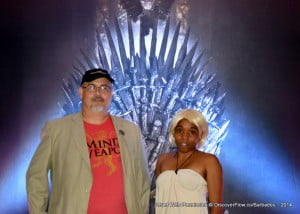 The real winner is an Anime Kon veteran who had a simple yet effective outfit to become the last Targaryen, it is known! Here, she poses with George R.R. uh... the crazy dude who was the Anchor at CBC, she won a DVD set for her portrayal!