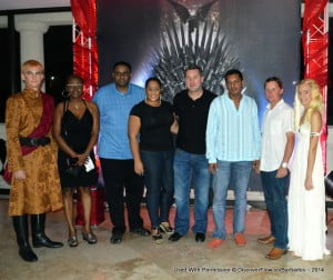 Flanked by Joffrey (extreme left) and Dany (extreme right) look-alikes, the Flow team paused before a busy evening to stand in front of the Iron Throne!