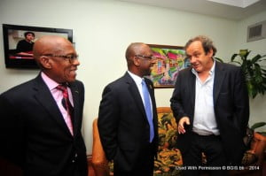 President of the BFA, Randy Harris; Minister of Culture, Sports and Youth, Stephen Lashley, and President of UEFA, Michel Platini during a brief welcome meeting held at Iam Jet Centre
