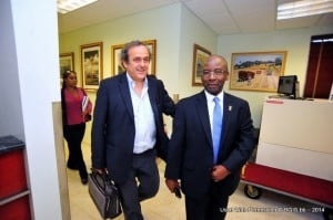 Minister of Culture, Sports and Youth, Stephen Lashley and President of UEFA, Michel Platini