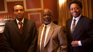 (left - right) Nickolai Salcedo (Ulric Cross), Joseph Marcell (CLR James) and Fraser James (George Padmore)