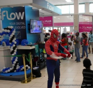 Your friendly neighborhood Spidey was on hand to dazzle FLOW's younger customers...