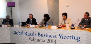 Invest Caribbean Now's Sheila Newton-Moses, centre, at the Global Russia Business Meeting in Valencia, Spain on April 7, 2014. (ICN Photo)