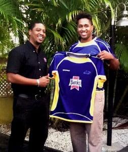 Charles Walcott (Banks Beer) presenting National Rugby Kit to National Player Stephen Millar