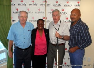 Sharing a lighter moment after the press conference from Left to Right? Clark Woods, President, Variety Club International; Director of Variety Barbados - Donnah Russell; Miles Hilton-Barber and Virgin Atlantic's Marketing Manager for B'dos & Eastern C'bean - Andre Bello