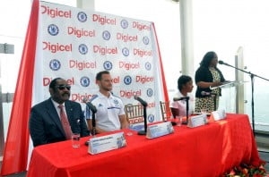 Jamaica's Minister with responsibility for Sport, Natalie Neita-Headley, speaking at the launch of the Digicel Kick Start Clinics held at Digicel's Regional Headquarters in Jamaica