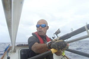 Victor Mooney, the Atlantic Rower aboard Spirit of Malabo in the Atlantic Ocean