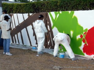 The wall is being repainted as part of the MGD team-building activities, while also providing an opportunity for the beautification of a section of the Spring Garden Highway, in time for Crop Over 2014