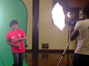 Mahalia Cummins of NexCyx recording her video spot for the jingle