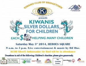 "After fellow Kiwanians have returned from collecting donation throughout Bridgetown, there will be live entertainment from our local entertainers and our official Youth Ambassador of The Kiwanis Silver Dollars For Children, Chad ""Sir Ruel"" Bowen. (CLICK FOR BIGGER)"