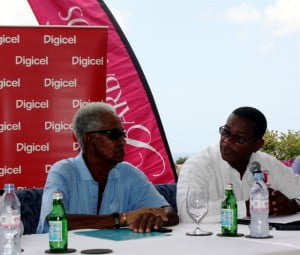The Right Excellent Sir Garfield Sobers (left), in conversation with Commercial Director of Digicel Barbados, Alex Tasker, at the press launch of this year's Sir Gary Sobers Golf Championships.