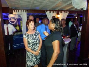 Will the Barbados Hotel & Tourism Assoc. (BHTA) or its members upgrade their service? Executive Vice President Sue Springer chatting with another guest at the Azul restaurant in Maxwell, Ch Ch.