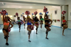 The talented Barbadian dancers going through their cheerleading routines during the audition.