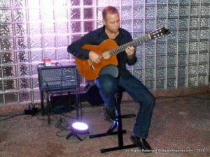 This skilful guitarist provided soothing sounds while folks exchanged their own views on what transpired that evening.