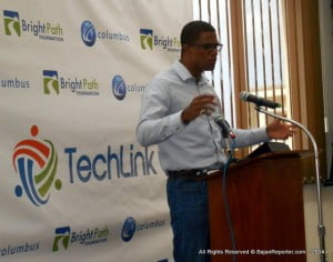 "Khalil Bryan, a computer engineer and entrepreneur, who actively volunteers on the Wi-Fi project of the Barbados Entrepreneurship Foundation, one of Columbus' strategic partners, told participants that, ""All around us, we can see the progress that is enabled by technology. From connected executives on the go, to real time updates on your phone that your product was delivered to a key customer. We can live in Barbados but sell to the world. That is what real connectivity enables."""