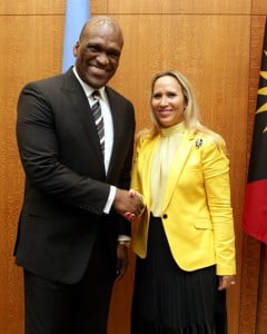 John W. Ashe, President of the United Nations General Assembly meets with Karine Roy-Camille, Martinique Tourism Authority Commissioner during her official visit to New York to contribute to the United Nations Permanent Memorial for the Victims of Slavery and Transatlantic Slave Trade. (Copyrights : United Nations)