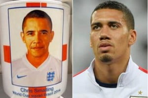 {IMAGE VIA - Voice Online UK} MUG MIX-UP: President Obama appeared as Chris Smalling on World Cup merchandise. Clearance company hopes to sell cups for £2000, reports claim