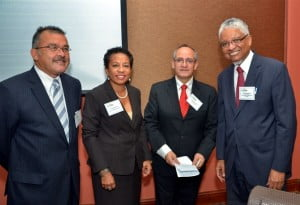 Left to Right: Dr Pedro Henríquez; Christine Norton, Representative, UNESCO Caribbean Office; Francisco Marmalejo; Vice-Chancellor Nigel Harris