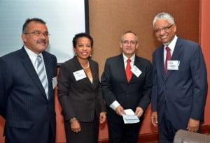 Left to Right: Dr Pedro Henríquez; Christine Norton, Representative, UNESCO Caribbean Office; Francisco Marmalejo; Vice-Chancellor Nigel Harris