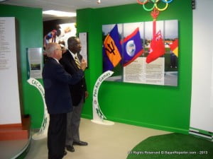 """It promises to be an exciting day,"" says Dave Farmer, (seen here with PM Freundel Stuart indicating Museum attractions) Director, National Olympic Academy of Barbados, ""We recognise the important role that our Olympic Day celebrations in Barbados can play in the global effort to encourage people to be more physically active. Olympic Day is officially June 23rd but we are hosting our celebrations on Sunday, June 22 to allow for families and others to join us. This year we will be at Trent's Playing Field and we have numerous activities planned including a three-legged relay, the bucket brigade, lime & spoon and the traditional Olympic Day walk/run. It will be a fantastic demonstration of inclusion, cooperation and teamwork."""