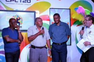 Sir Andy Roberts (centre) stands with fellow cricket legends, Sir Vivian Richards (left) and Roger Harper (right) along with Caribbean broadcaster, Simon Crosskill, at the recently-held CPL Draft